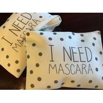 Make-Up Bag White Canvas polka dot