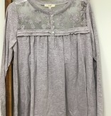 Easel Grey Long Sleeve Lace on top and upper Back
