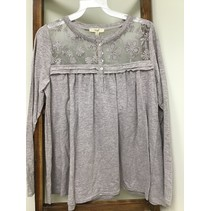 Grey Long Sleeve Lace on top and upper Back