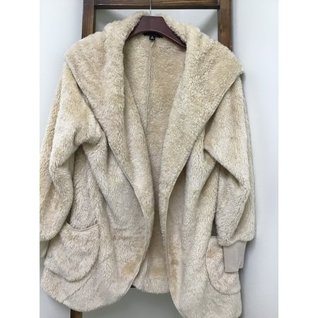 Zenana Outfiters Fluffy Jacket w Hood and Pockets
