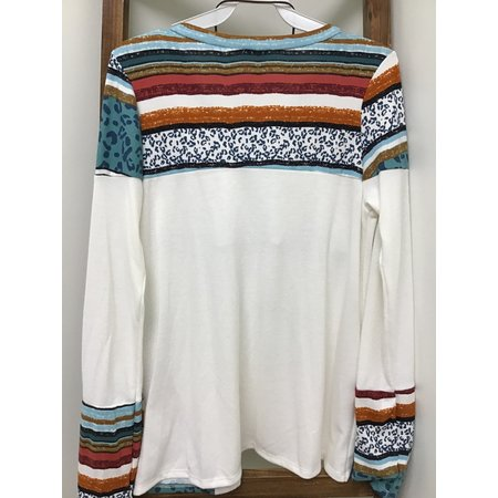 Lovely Faux Cashmere Color Block Knit top