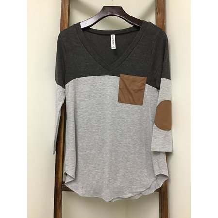Zenana Outfiters CHARCOAL COLOR BLOCK V-NECK W CHEST POCKET