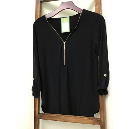 Zenana Outfiters Zip Front 3/4 sleeve Top