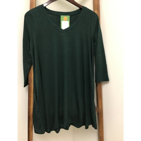 Zenana Outfiters Flared Top V-Neck W/side pockets 3/4 Sleeve
