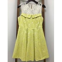 Lace Top Jacquard Dress/lace /tie-up back