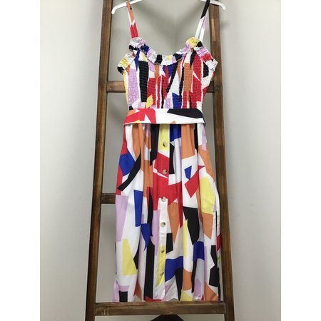 MOUNTAIN VALLEY TRADING Multi color Sleeveless Dress w/stretch top