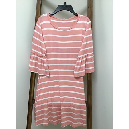 Yelete Ruffled 3/4 Bell Sleeve Dress (rayon/Spandex)