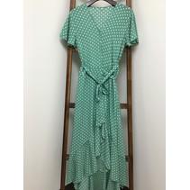 Green Polka Dot, V neck wrap Dress