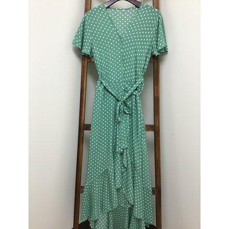 MOUNTAIN VALLEY TRADING Green Polka Dot, V neck wrap Dress