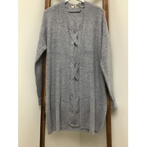 Cardigan Grey open back w/Cross Tie, long sleeve