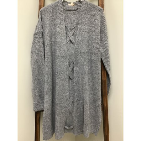 Hem & Thread Cardigan Grey open back w/Cross Tie, long sleeve