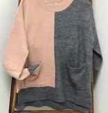 Hem & Thread Sweater Color Block Front Pockets