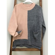 Sweater Color Block Front Pockets