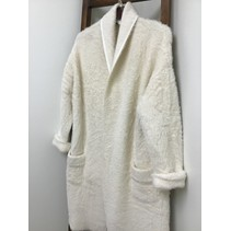 Mohair long open front cardigan w/pockets