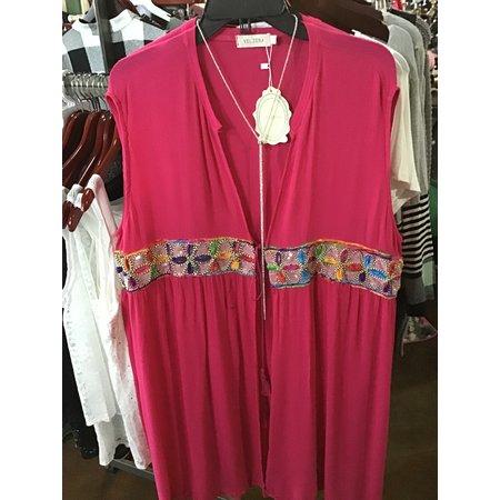 Velzera Sleeveless cardigan cover-Up  Plus size