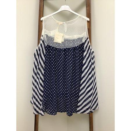 RYU Polka Dot Babydoll Tunic W/ Crochet Detail Lace Upper