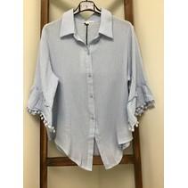 Cotton gauze 3/4  Bell Sleeve W fringe