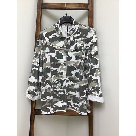 Gigimoda Cotton Rhinestone Army Camo Jacket