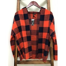 Hoodie Red/Blue Plaid Cardigan