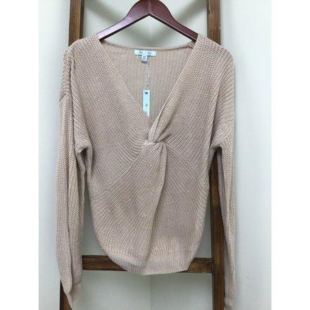 She & Sky Long Sleeve Sweater W/Front Twist Detail