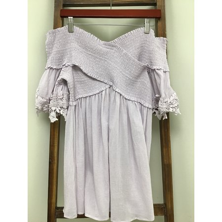 Easel Lilac Off The Shoulder Cotton Top
