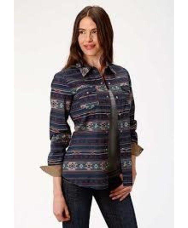 Chemise Roper blue & brune avec motifs