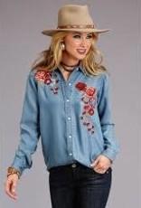 Roper Chemise en jeans avec fleurs Stetson
