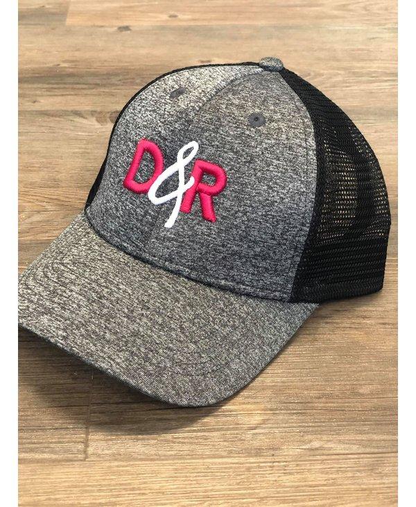 Casquette D&R grise logo rose