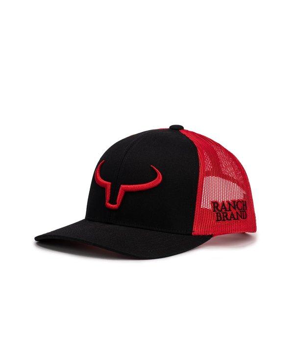 Casquette Ranch Brand-Noir/Rouge