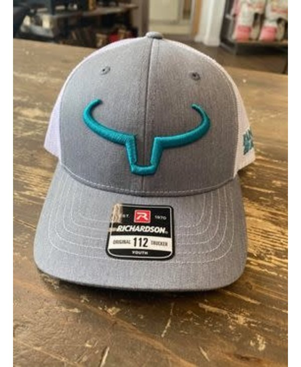 Casquette Ranch Brand Grise - Logo Turquoise