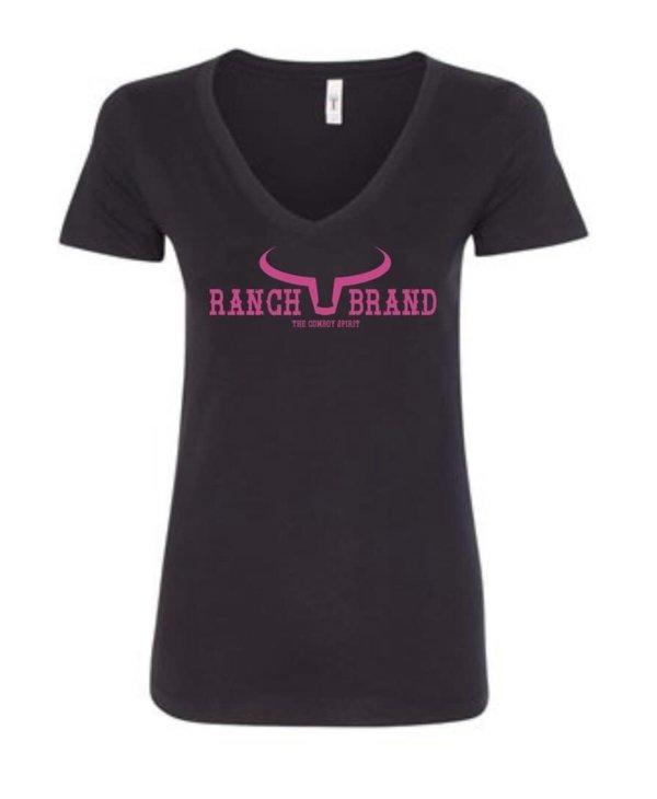 Chandail Ranch Brand - Noir Logo Rose