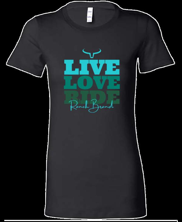 Chandail Ranch Brand - Live Love Ride - Noir Logo Turquoise