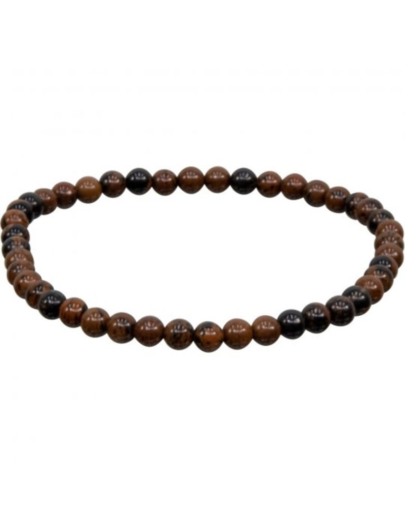 Bracelet, 4mm round beads, Mahogany Obsidian