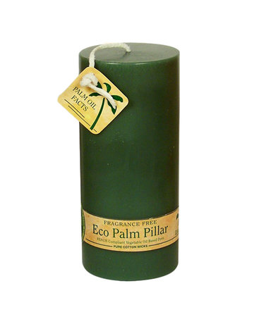 "Aloha Bay ALOHA BAY UNSCENTED GREEN PILLAR CANDLE 2 1/4"" X 5"""