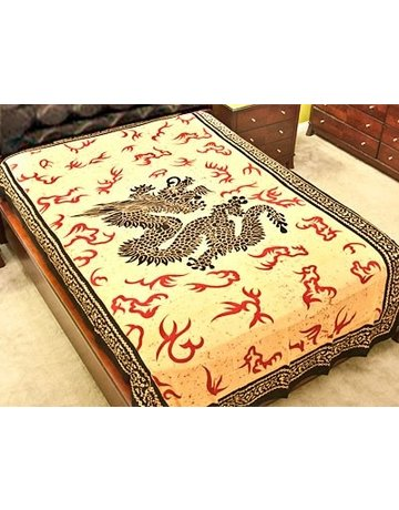 Dragon Tapestry Red White Twin size