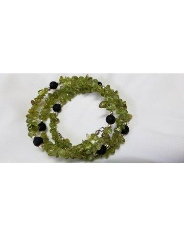 Peridot with Lava beads wrap around beads
