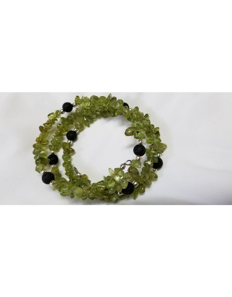 Peridot with Lava beads wrap around beads