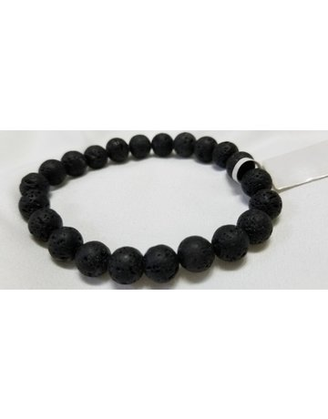 Lava rock bracelet 8 mm round beads elastic