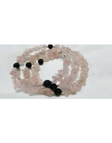Kheops Rose Quartz with lava chips  Wrap Around Bracelet