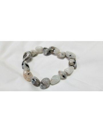 Rainbow moonstone with tourmaline bracelet