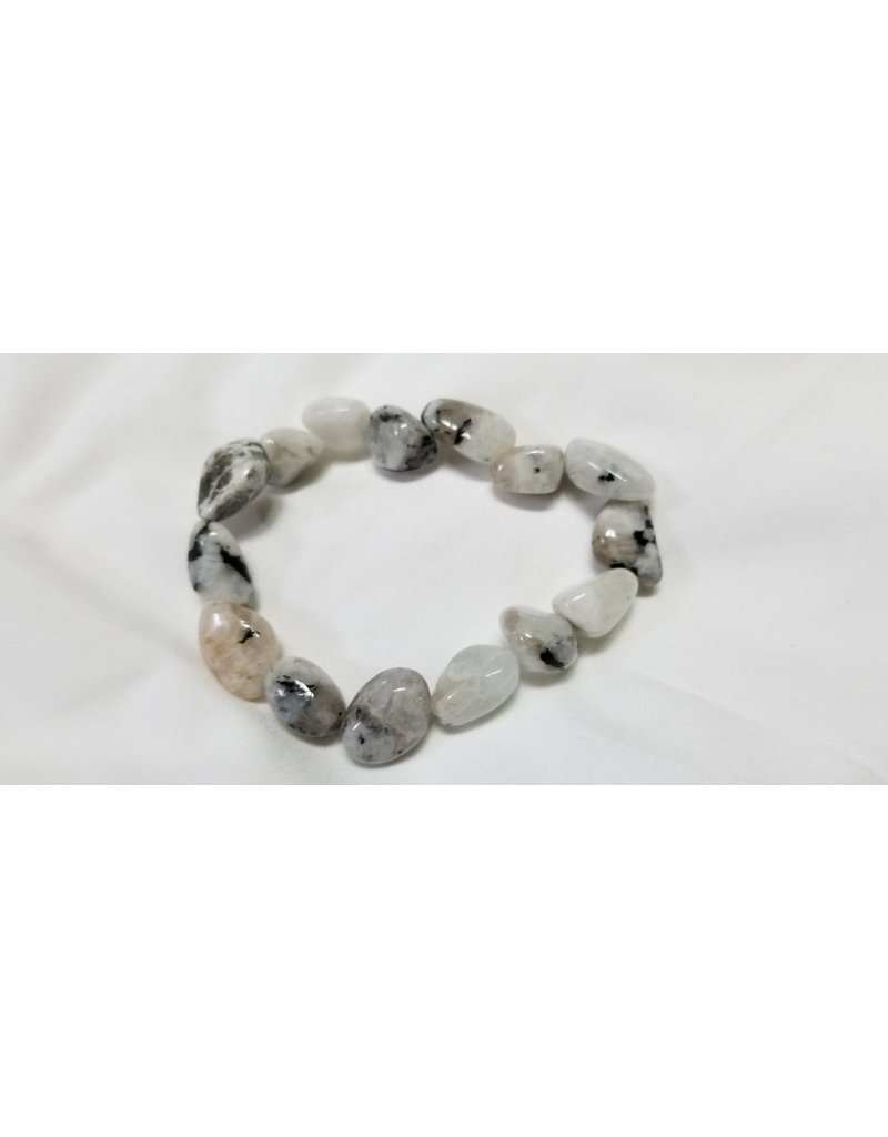 Rainbow moonstone with tourmaline bracelet