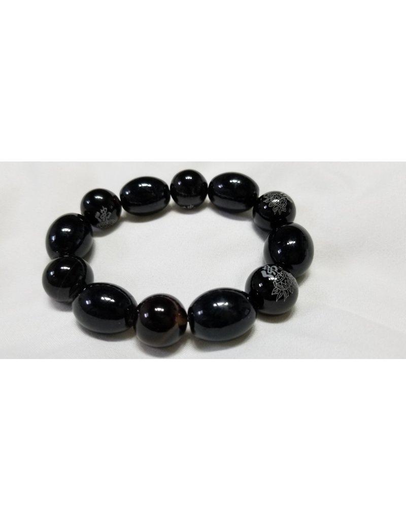 Obsidian large beads  elastic bracelet