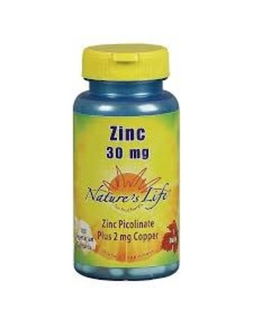 Nature's Life Zinc Picolinate 30 mg with Copper 2 mg 100 vgc