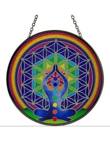 Suncatcher glass Chakra design 6 inches