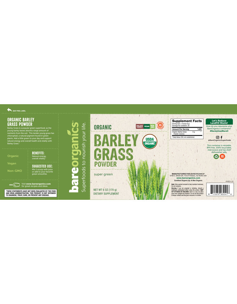 Bare Organics Barley Grass Owder Organic 6 oz