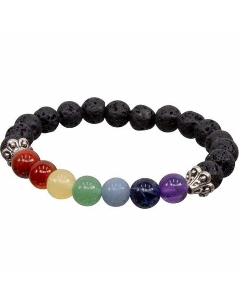Chakra Elastic Bracelet 8 mm Round Beads Lava