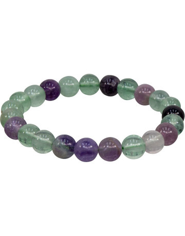 Elastic Bracelet 8 mm Round Beads Flourite