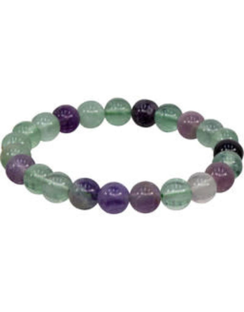 Elastic Bracelet 8 mm Round Beads Fluorite