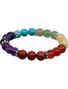7 Chakra Elastic Bracelet with Roundel Spacer 8mm round