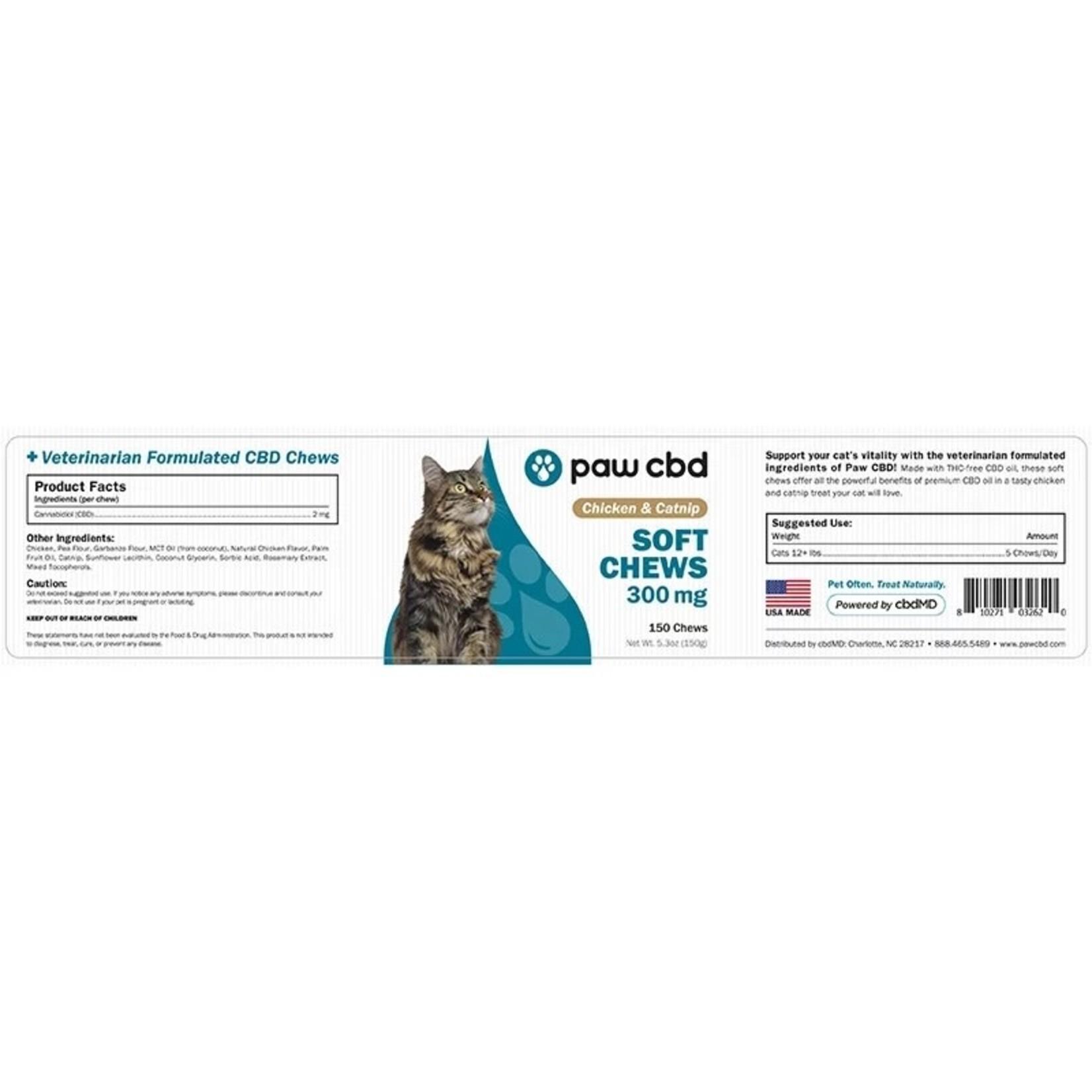 Paw CBD Feline Cat Soft Chews Chicken and Catnip 300mg
